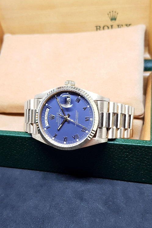 Rolex 18K Solid Yellow Gold Matte Blue Roman Day-Date REF: 18038