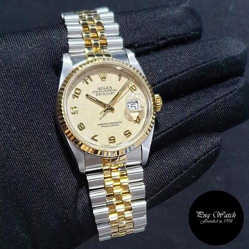 Rolex Oyster Perpetual 18K Half Gold Cream Arabic Datejust REF: 16233 (X)(2)