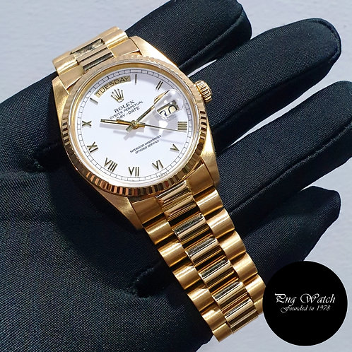 Rolex Oyster Perpetual 18K Yellow Gold White Roman Day-Date REF: 18038 (2)