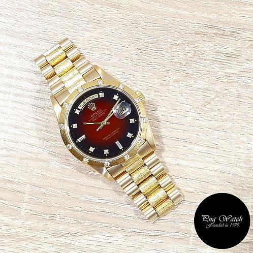 Rolex OP 18K YG Bark Finished Red Degrade Diamonds Day-Date REF: 18308 (2)