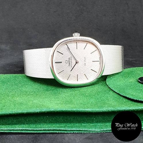Vintage Omega 18K White Gold Silver De Ville REF: 8382