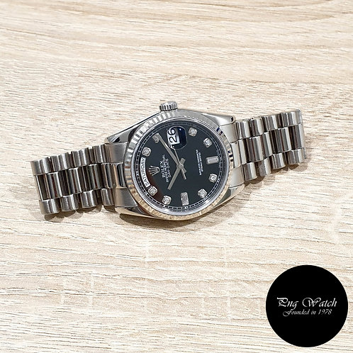 Rolex Oyster Perpetual 18K White Gold Black Diamonds Day-Date REF: 118239 (Y)(2)