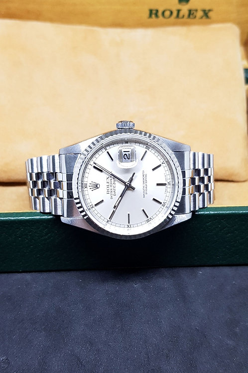 Rolex Oyster Perpetual Silver Baton Index Datejust REF: 16234