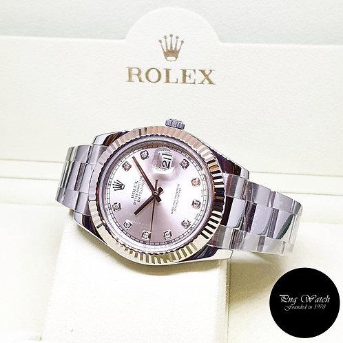 Rolex Oyster Perpetual Silver Diamonds 41mm Datejust II REF: 116334 (G Series)