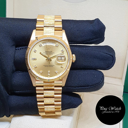 Rolex 18K Yellow Gold Champagne Diamonds Bark Finished Day-Date REF: 18248 (2)