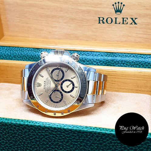 "Rolex 18K Half Gold Champagne Indexes ""Inverted 6"" Cosmograph Daytona REF: 16523"