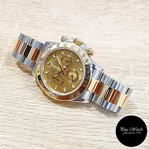 Rolex Oyster Perpetual 18K Half Gold Champagne Index Daytona REF: 116523 (F)(2)