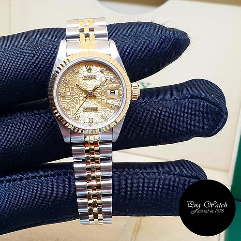 Rolex 18K Half Gold 26mm Ladies Champagne Computer Diamonds Datejust 69173 (2)