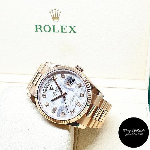 Rolex 18K Rose Gold Meteorite Diamonds DayDate REF:  118235 (2017)