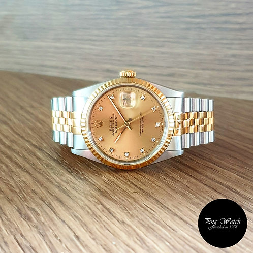 Rolex 18K Half Gold Small Diamonds Champagne Datejust REF: 16233 (2)