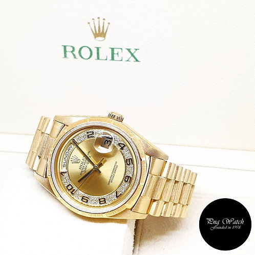 Rolex OP 18K Yellow Gold Bark Finished Pave Edge Diamonds Day-Date 18248