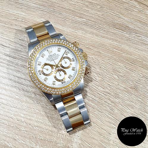 Rolex OP 18K Half Gold Zenith Movement White Diamonds Daytona REF: 16523 (2)