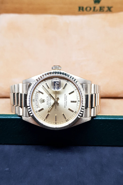 Rolex Oyster Perpetual 18K Champagne Yellow Gold Day-Date REF: 18038