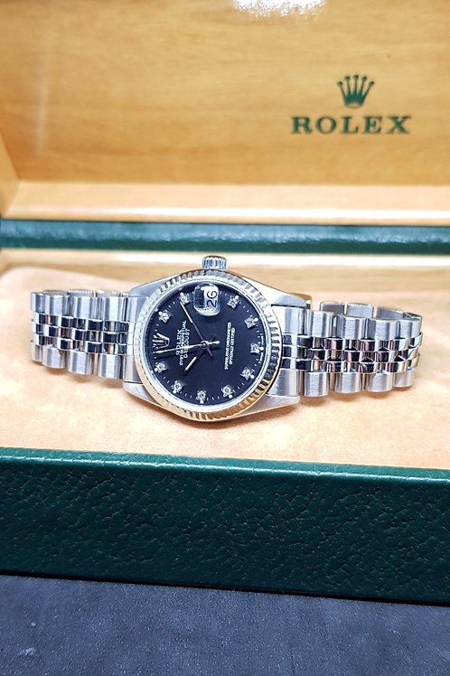 Rolex Oyster Perpetual Matte Black 10PT Diamonds Boy Datejust REF: 68274