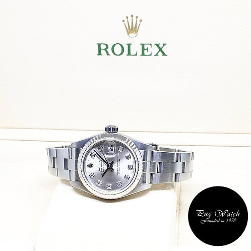 Rolex Oyster Perpetual 10PT Diamonds Silver Ladies Datejust REF: 79174