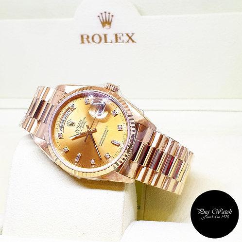 Rolex OP 18K Yellow Gold Champagne Diamonds Day-Date REF: 18238 (E)