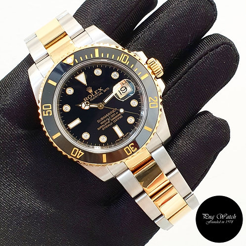 Rolex Ceramic 18K Half Gold Black Serti Diamonds Submariner Date 116613ln