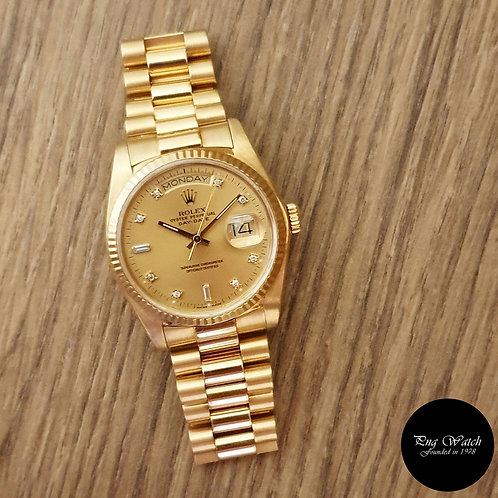 Rolex 18K Yellow Gold Champagne Gold Diamonds Day-Date REF: 18038 (Full Set)(2)