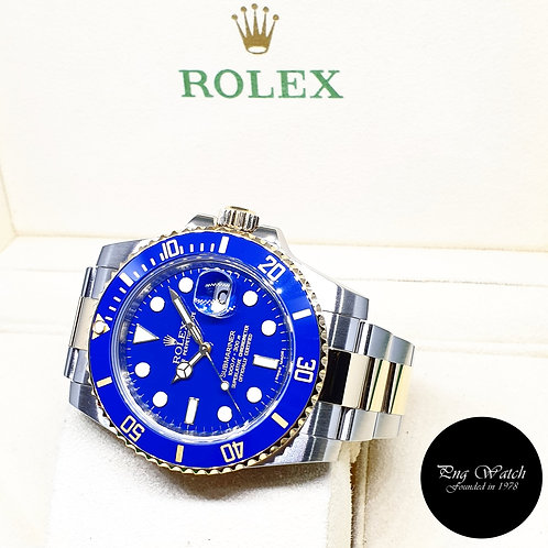 Rolex 18K Half Gold Ceramic Matte Blue Submariner REF: 116613LB
