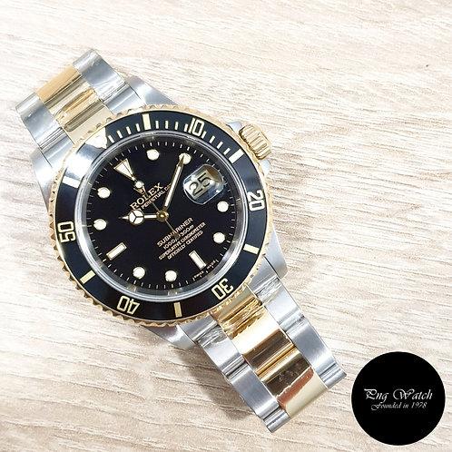 Rolex OP 18K Half Gold Black Submariner REF: 16613 (2)