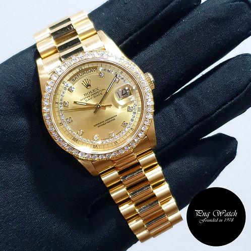 Rolex 18K Yellow Gold Champagne String Diamonds Day-Date REF:  18238 (2)