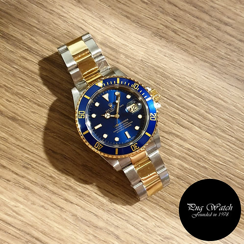 Rolex Oyster Perpetual 18K Half Gold Blue Submariner REF: 16613 (A Series)(2)