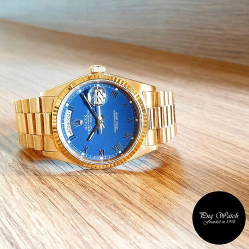 Rolex 18K Yellow Gold Matte Blue Roman Day-Date REF: 18038 (2)