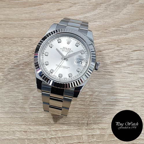Rolex Oyster Perpetual Silver Diamonds 41mm Datejust II REF: 116334 (2)