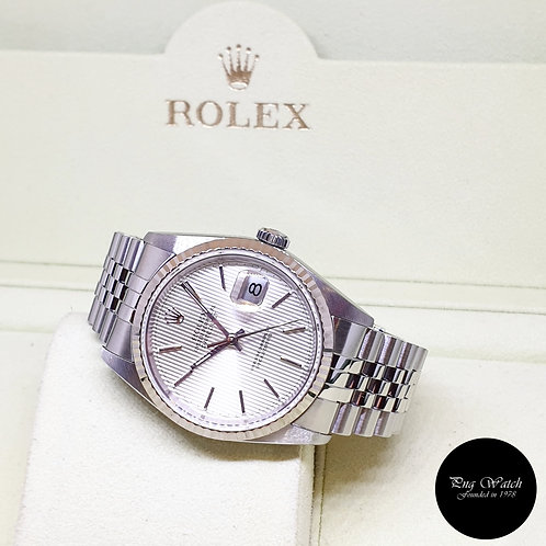 Rolex Oyster Perpetual Silver Tapestry Datejust REF: 16234
