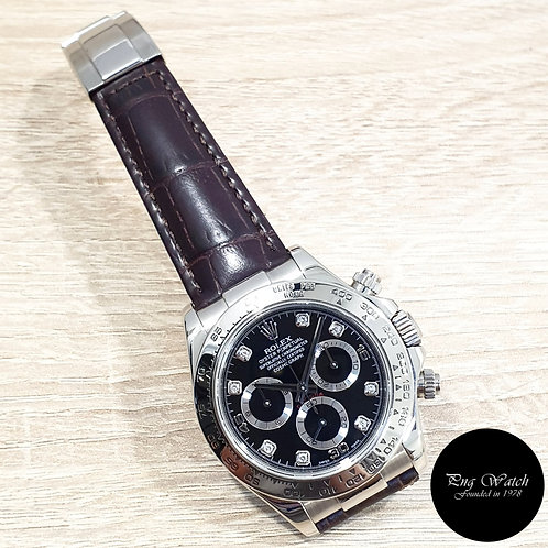 Rolex OP 18K White Gold Black Diamonds Leather Daytona REF: 116519 (2)