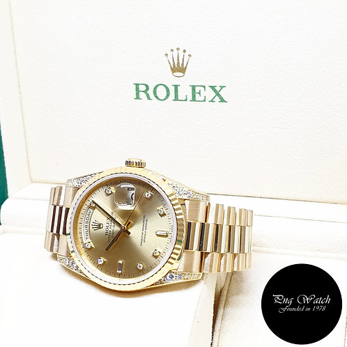 Rolex 36mm 18K Yellow Gold Champagne Diamonds and Diamond Lug Daydate REF: 18338