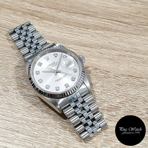 Rolex Oyster Perpetual Plain Silver 10Pt Diamonds Datejust REF: 16234 (2)