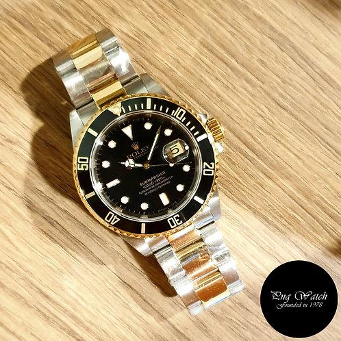 Rolex Oyster Perpetual Tritium 18K Half Gold Black Submariner REF: 16613 (2)