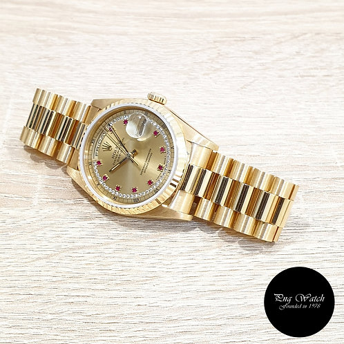Rolex OP 18K Yellow Gold Champagne Rubies and String Diamonds Daydate (2)