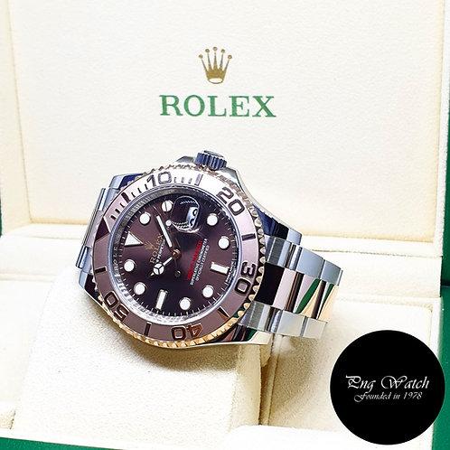 Rolex 18K Half Rose Gold Chocolate Yachtmaster REF: 116621