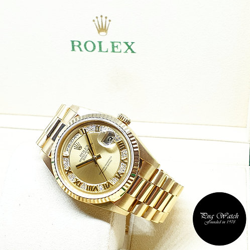 Rolex Oyster Perpetual 18K Yellow Gold Pave Edge Diamonds Day-Date REF: 18238