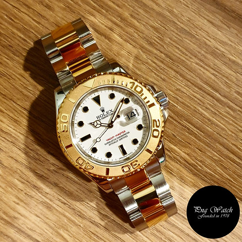 Rolex Oyster Perpetual Date 18K Half Gold White Yachtmaster REF: 16623 (2)
