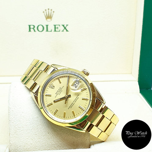 Rolex Gold Shell Oyster Perpetual Champagne Indexes Date REF: 15505