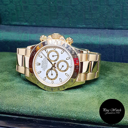Rolex OP 18K Yellow Gold White Indexes Cosmograph Daytona  REF: 116528
