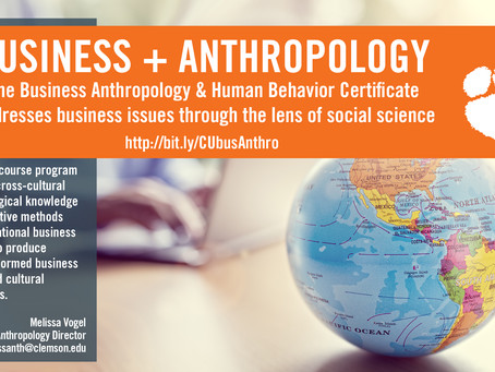 Clemson Business Anthropology Certificate Launching in January