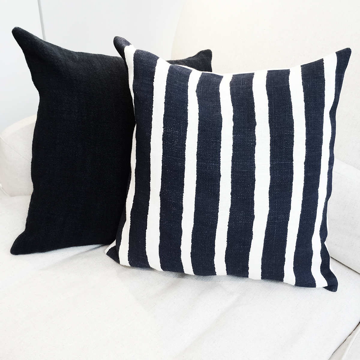 Striped Cushion on Sofa