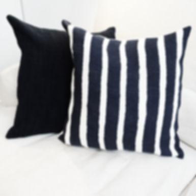 Striped Cusion on Sofa