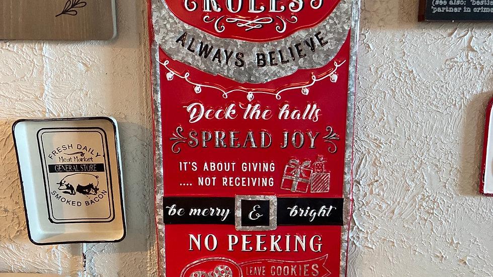 """""""Santa Rules"""" Sign"""