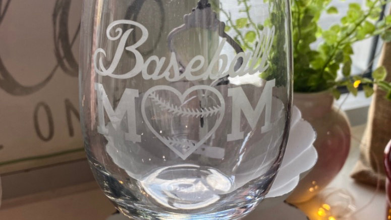 Baseball Mom Wine Glass