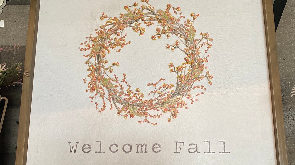 Welcome Fall Framed Sign