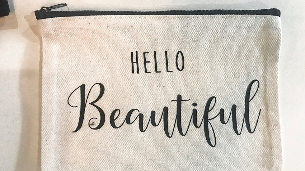 Personalized Hello Beautiful Zip Pouch