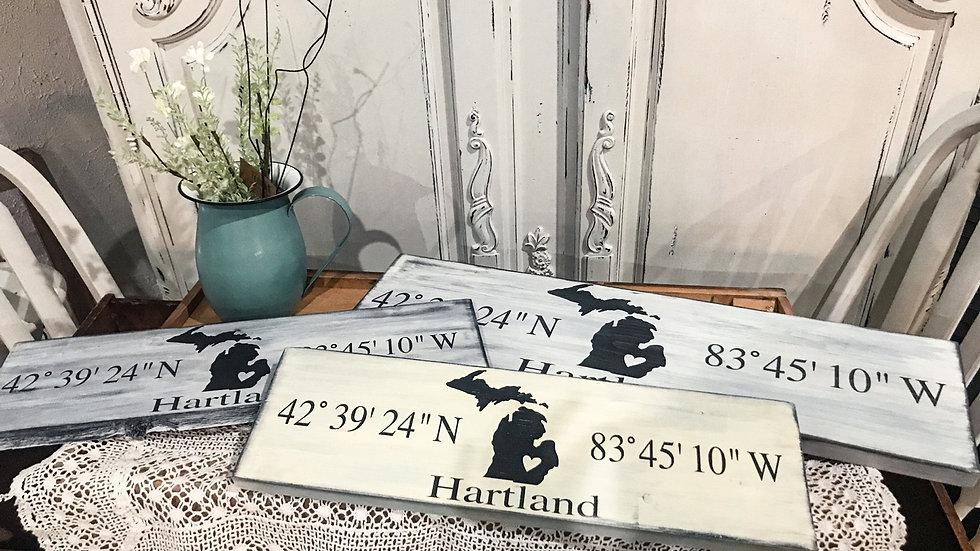 Hartland Coordinates Sign