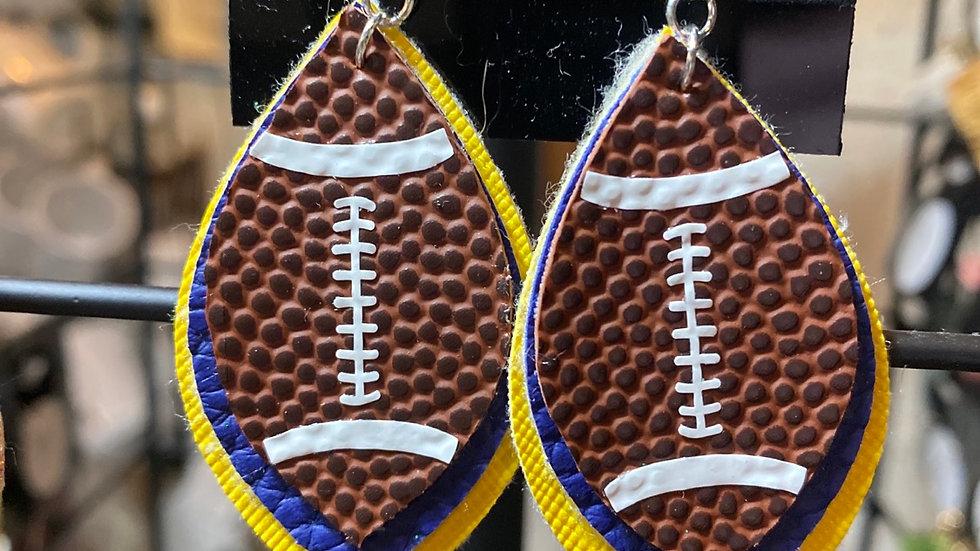 Football Earrings - Blue & Gold