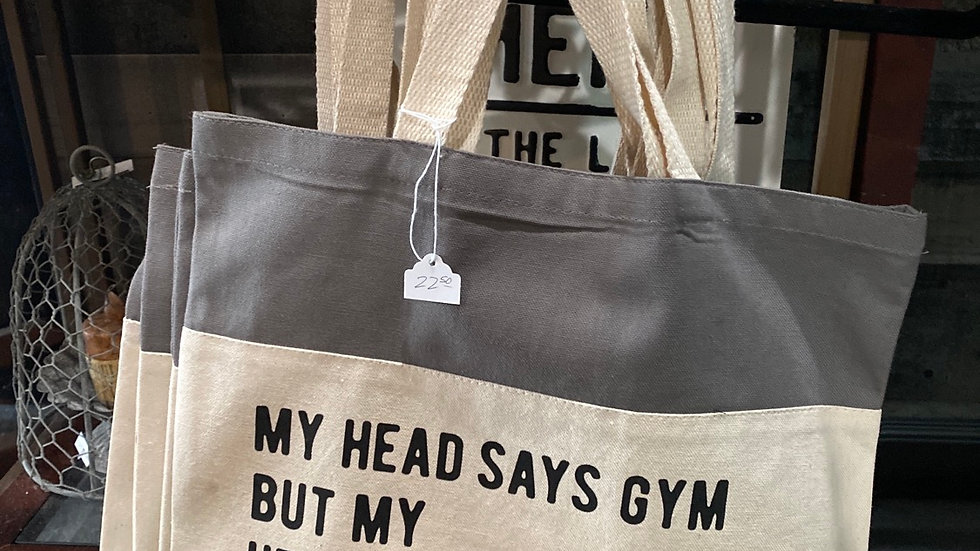 My head says Gym tote bag