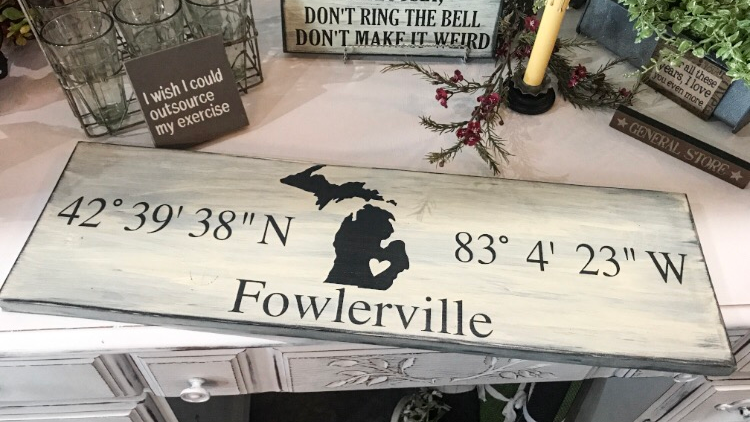 Fowlerville Coordinates Sign